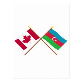 Kanada und Aserbaidschan gekreuzte Flaggen Postkarte