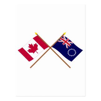 Kanada und Cookinseln gekreuzte Flaggen Postkarte