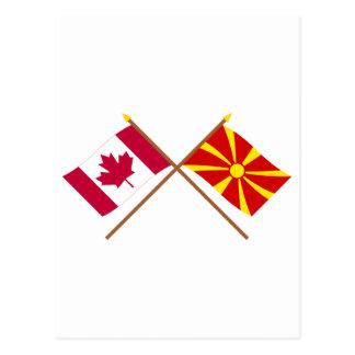 Kanada und Mazedonien gekreuzte Flaggen Postkarte