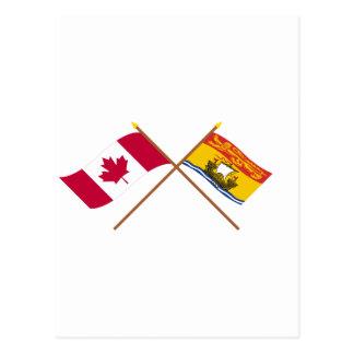 Kanada und New-Brunswick gekreuzte Flaggen Postkarte