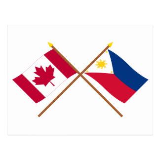 Kanada und Philippinen gekreuzte Flaggen Postkarte