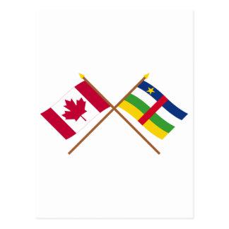 Kanada und Republik Zentralafrika gekreuzte Postkarte