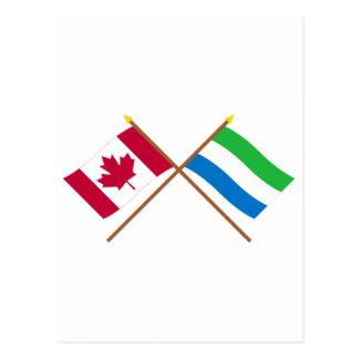 Kanada und Sierra Leone gekreuzte Flaggen Postkarte