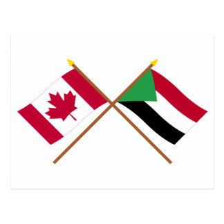 Kanada und Sudan gekreuzte Flaggen Postkarte