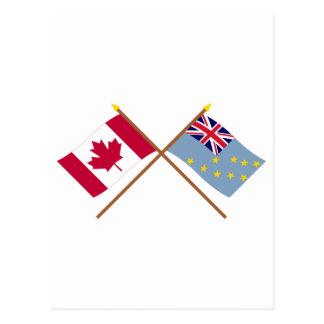 Kanada und Tuvalu gekreuzte Flaggen Postkarte