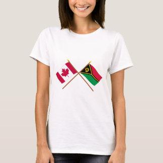 Kanada und Vanuatu gekreuzte Flaggen T-Shirt