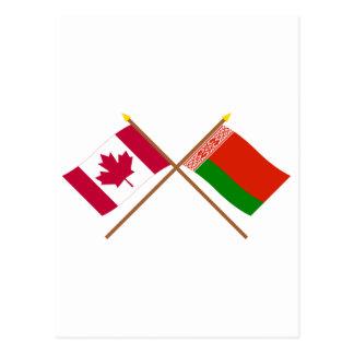 Kanada und Weißrussland gekreuzte Flaggen Postkarte