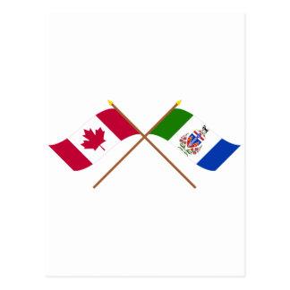 Kanada und Yukon-Territorium gekreuzte Flaggen Postkarte