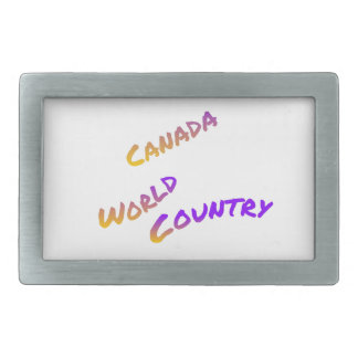 Kanada-Weltland, bunte Textkunst Rechteckige Gürtelschnalle