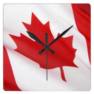Kanadische Flagge Quadratische Wanduhr