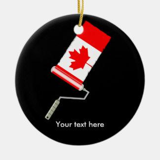 Kanadische Flaggen-Farben-Rolle Rundes Keramik Ornament