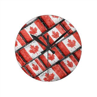 Kanadisches Flaggen-Motiv-Muster Runde Wanduhr