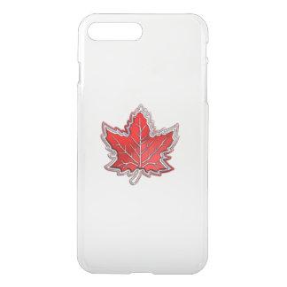 Kanadisches Rotahorn-Blatt auf Kohlenstoff-Faser iPhone 8 Plus/7 Plus Hülle