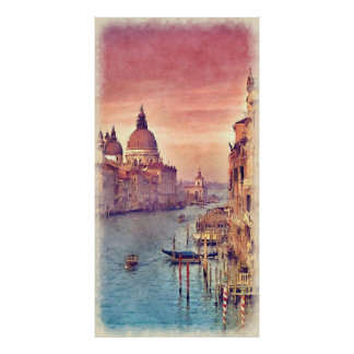 Kanal-PastellWatercolor Chic-Vintager Italiens Poster