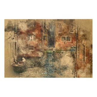 Kanäle von Aquarell Venedigs Italien Holzleinwand