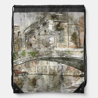 Kanäle von Aquarell Venedigs Italien Turnbeutel