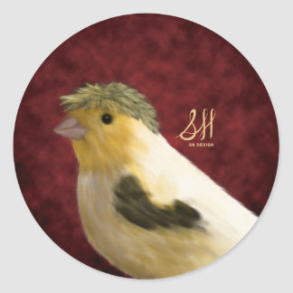 Kanarienvogel mit Haube Runder Aufkleber
