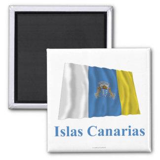 Kanarische Inseln, die Flagge mit Namen auf spanis Quadratischer Magnet