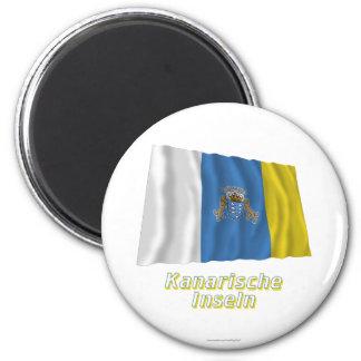 Kanarische Inseln Fliegende Flagge MIT Namen Runder Magnet 5,7 Cm