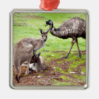 Kangaroo_And_Emu, _ Silbernes Ornament