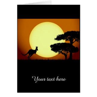 Känguru am Sonnenuntergang Karte