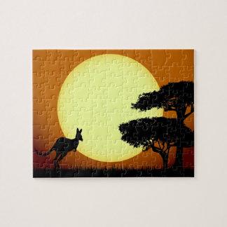 Känguru am Sonnenuntergang Puzzle