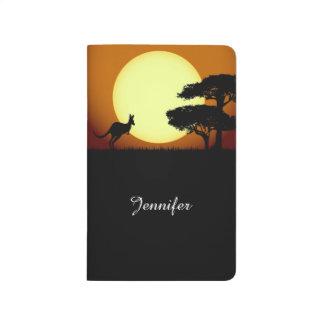 Känguru am Sonnenuntergang Taschennotizbuch