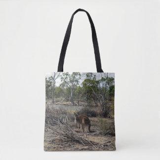 Känguru beim Billabong, volle Druck-Einkaufstasche Tasche