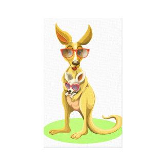 Känguru mit Gläsern Leinwanddruck
