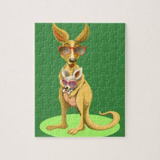 Känguru mit Gläsern Puzzle