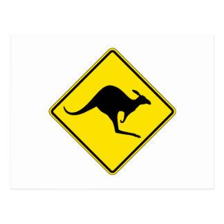 Känguru-Überfahrt, handeln Warnzeichen, Australien Postkarte