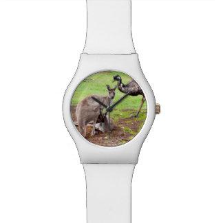Känguru und Emu, Damen-weiße Uhr