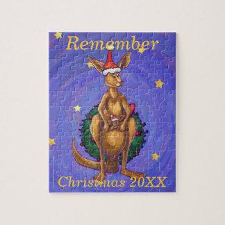 Känguru-Weihnachtssternenklare Nacht Puzzle