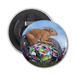 Kaninchen auf seinem bunten Ei für Ostern - 3D Runder Flaschenöffner
