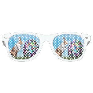 Kaninchen, das Osterei drückt - 3D übertragen Sonnenbrille