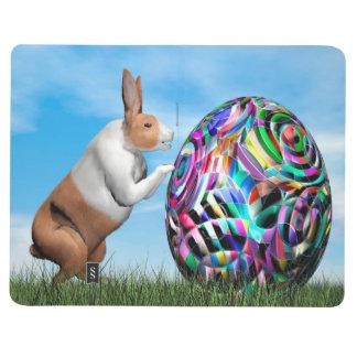 Kaninchen, das Osterei drückt - 3D übertragen Taschennotizbuch