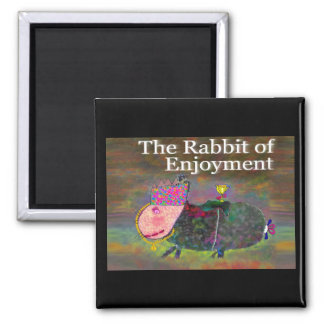 Kaninchen des Genusses [Magnet] Quadratischer Magnet
