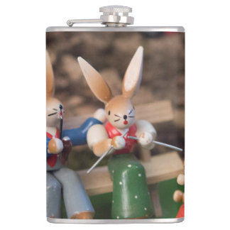 Kaninchen-Familie Ostern Flachmann
