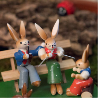 Kaninchen-Familie Ostern Fotoskulptur Ornament
