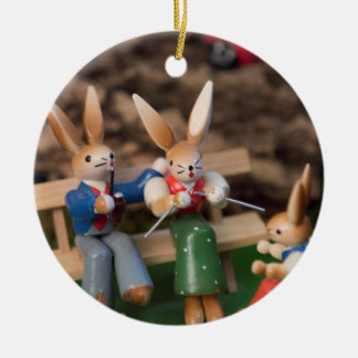 Kaninchen-Familie Ostern Keramik Ornament