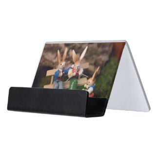 Kaninchen-Familie Ostern Schreibtisch-Visitenkartenhalter