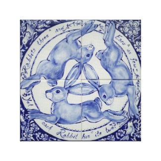 Kaninchen-Hase-Vogel-Fliesen-Medaillon-Kunst-Blau Leinwanddruck