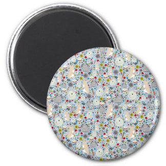 Kaninchen im Blau Runder Magnet 5,1 Cm