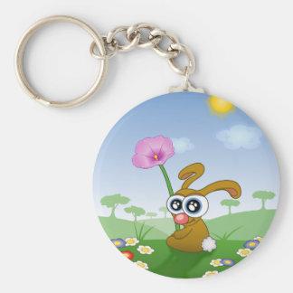 Kaninchen mit den großen Augen, die auf Feld Schlüsselanhänger