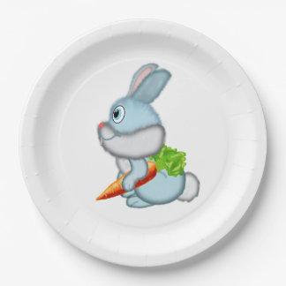 Kaninchen mit Karotte Pappteller