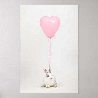 Kaninchen mit rosa Ballon Poster