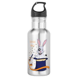 Kaninchen mit Zylinder und Magie-Stab Edelstahlflasche