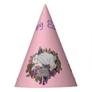 Kaninchen und Gänseblümchen rosa Ostern-Partyhut Partyhütchen