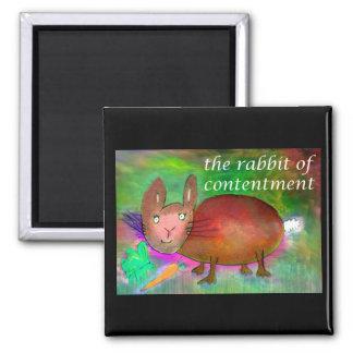 Kaninchen von Zufriedenheit [Magnet] Quadratischer Magnet