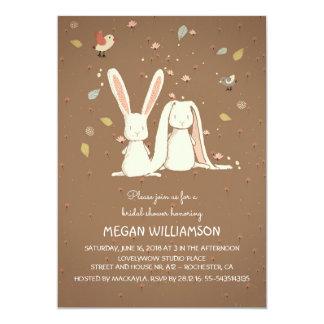 Kaninchenhäschenpaar-WaldBrautparty 12,7 X 17,8 Cm Einladungskarte